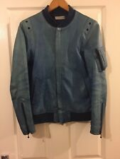 RARE! HEADL_INER JAPAN Leather Jacket Washed Baby Blue Leather Size 44/XS