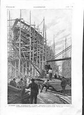 Chantier naval de La Seyne sur Mer cuirassé Patrie en construction GRAVURE 1903