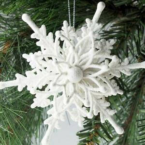 6pcs Christmas Tree Decoration Hanging Ice White 3D Snowflake Ornate Baubles