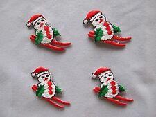 #3191 Ski Christmas Snowmen w/Sleigh Embroidery Iron On Applique Patch