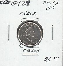 G127 CANADA 10c - 10 CENTS COIN 2001p BRILLIANT UNCIRCULATED - ERRORS