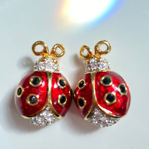 2 Swarovski Swan Signed Red Enamel Crystals Lady Bug Petite Pin Brooches Retired
