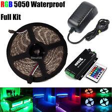 5M 300Leds 5050 RGB Led Strip Light Waterproof Music Sensor Control +12V Adapter