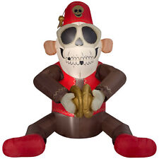 Halloween Inflatable Animated Cymbal Monkey Airblown Yard Decor 6 FT LED NEW