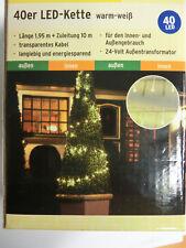 LED Lichterkette 40 LEDs - warmweiß - Innen und Außen weiß Kabel transparent