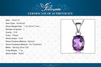 1.7 ct Natural Amethyst Pendant with 925 Sterling Silver Necklace UK Seller