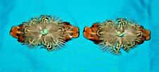 Set 2 Med Feathered Barrettes Pheasant Feathers & Turquoise FREE SHIPPING MBS13
