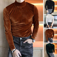 UK VELVET MEN'S LONG SLEEVE TOP HIGH & TURTLE NECK BASIC T SHIRTS TOPS WINTER