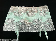 Victorias Secret Lace Garter Skirt Crystals Built in Thong Size S Mint Green #47