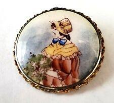 Vintage Porcelain/Goldtone Compact/Brooch, 14K back?  Great Condition, Beautiful