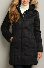 EDDIE BAUER LODGE goose DOWN PARKA trench COAT jacket BLACK 550FP S $229