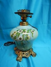 Antique Table Oil Lamp Electrified, Pastel Teal, Hand Painted
