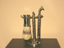 Vintage Shaving Razor Stand and Brush Stand Holder with Brush and Razor EXC COND