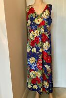 Joules Dress UK Size 16 Womens Ladies Floral Blue Red Yellow Lined XL