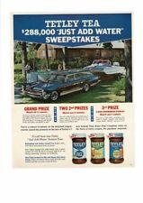 VINTAGE 1965 TETLEY TEA INSTANT PONTIAC STATION WAGON MOTOR BOAT AD PRINT