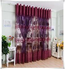 Window Floral Leaf Voile Jacquard Drape Curtain Sheer Valance Dark Purple