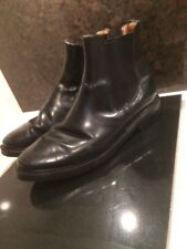 Vintage Damaged Scruffy Used Made In England NPS Black Leather Chelsea Boots UK8