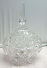 LAUSITZER CRYSTAL VINTAGE LIDDED DISH WITH FEET OBLONG AND TALL NICE PIECE