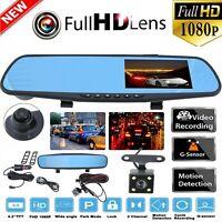 """HD 1080P 4.3"""" voiture DVR rétroviseur double lentille caméra Dash Cam Rec vid"""