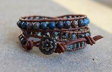 Beaded Wrap Bracelet Leather Wrap Seed bead multi bead bracelet Handmade USA
