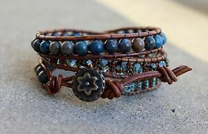 Beaded Wrap Bracelet Leather Wrap Seed bead multi bead bracelet Handmade USA