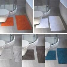 2 Piece Bath Mat Pedestal Set Ribbed 100% Cotton Bath Toilet Bathroom Mats