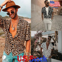 Men Fashion Slim Fit Leopard Print Shirt Short Sleeves Casual Blouse Tops Button