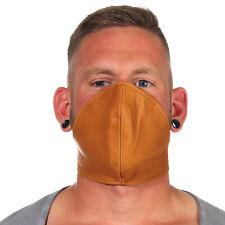 Rind Leder Mund Bedeckung WindSchutz Gesichtsmaske Steampunk Biker Maske Braun B
