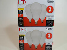 6 Pack LED CANDELABRA BASE small WARM WHITE Feit 60W Equivalent  6W Light Bulbs