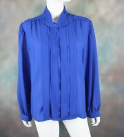 Vintage SK & Company Women's Blouse Size 16 Retro Sheer Electric Pleated