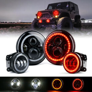 "7"" 90W Round LED Headlights & Fog Lights Combo w/ Red Halo for Jeep JK CJ LJ TJ"