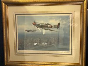 Limited Edition Framed Signed Print by Roy Huxley Spitfire Over Westminster 1945