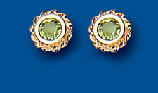 Gold Peridot Studs Round Fancy Edge 9ct Yellow Gold EARRINGS AP0110