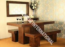 Tuscany Range - Wooden Wood Dining table with 2 Bench set (3 pc set) !!