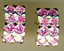 925 Sterling Silver Pale Pink Cubic Zirconia Stud Earrings 14 x 8mm