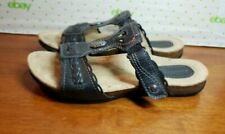 Earth Origins Women's Black Trudy Leather T-strap Sandals Size 8 M