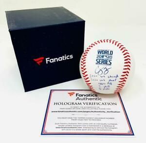 COREY SEAGER Autographed WS Statistic Official 2020 WS Baseball FANATICS LE 6