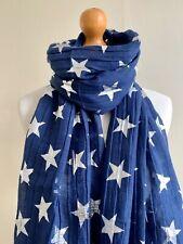 LARGE STAR PRINT SCARF WRAP SILVER METALLIC STARS NAVY BLUE XMAS GIFT IDEA