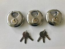 70MM STAINLESS WEATHERPROOF DISC PADLOCK KEYED ALIKE X 3 WITH 6 KEYS