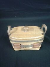 Longaberger American Tradition 1995 Basket w/ lid Red & Blue Weave Usa Handmade