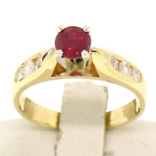 14k Yellow Gold 0.77ctw Round Ruby Solitaire Engagement Ring w/ Diamond Accents