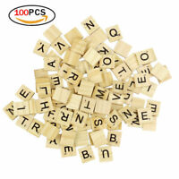 100 Wooden Scrabble Tiles Black Letters Numbers For Crafts Wood Game Alphabets