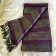 Laotian Pure Silk Purple & Silver Grey Handwoven Shawl/Scarf. Gorgeous Sheen.