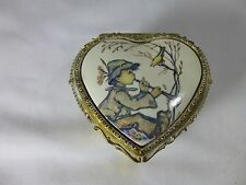 Art Boy and Bird Metal Trinket Music Box Heart Shaped