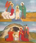 Religious gouache painting icon Birth of Jesus Baptism of Jesus Christ