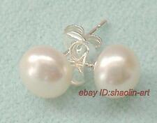 cadeaux de Noël,boucles d'oreilles perles 7-8mm blanc en perle  culture ,Argent