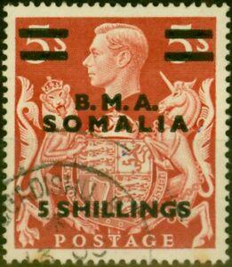 British Occu Somalia 1948 5s on 5s Red SGS20 Good Used (2)