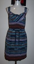 JAG 8 (10 FIT) BLUE/BROWNS PURE SILK COWL FRONT COTTON LINED SHIFT DRESS