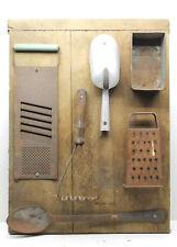 Antique & Vintage Kitchen Utensils Display Historical Decor Grater+Wisk+Spoon+++