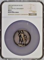 Swiss 1895 Silver Medal Uri Altdorf Wilhelm Walterli Tell Monument NGC MS61